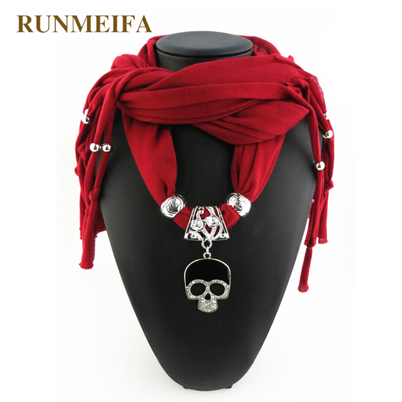 RUNMEIFA Pendant Scarf Cotton New Fashion Women Fashion Alloy Skull Pendant Scarves For Ladies/Girls/Women Scarf Free Shipping