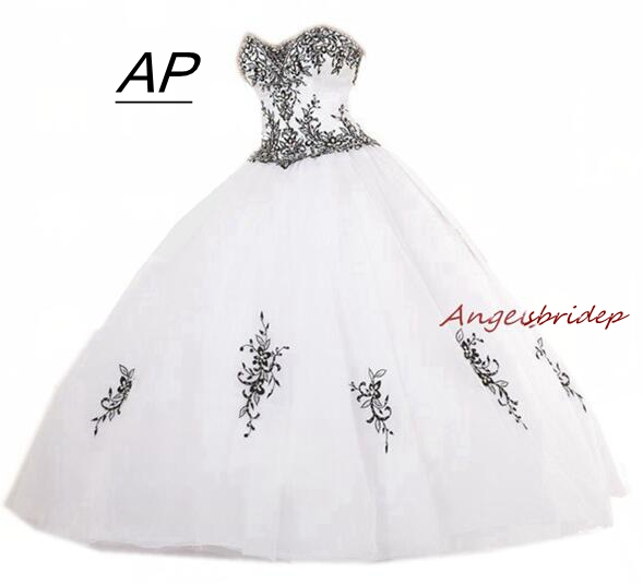 c39ae130302 ANGELSBRIDEP Sweet 16 Black Embroidery Debutante Gowns 2019 Unique  Sweetheart Full-Length Formal Quinceanera Dresses