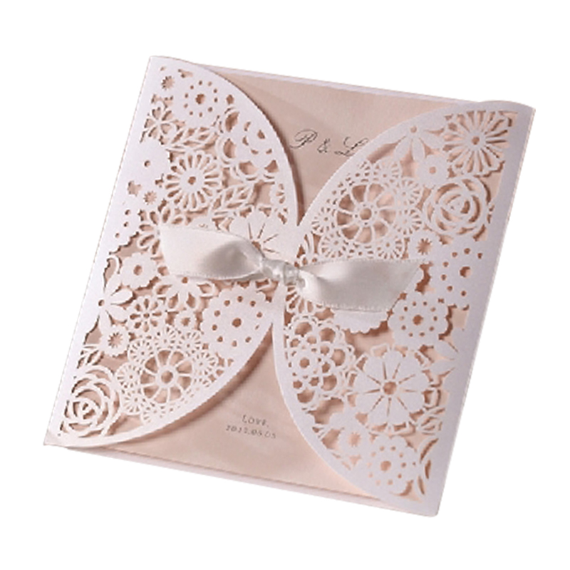 12Pcs Design Elegant Flowers Lace Laser Cut White Invitations Cards For Wedding Print Blank Paper Invitation Card Kit Convite design laser cut lace flower bird gold wedding invitations kit paper blank convite casamento printing invitation card invite
