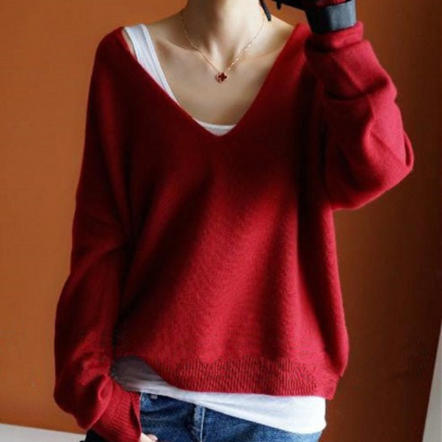 2018 Autumn Winter Cashmere Sweaters Women Fashion Sexy V-Neck Sweater Loose  Thickening Wool Sweater 1adb23fbc