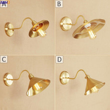 IWHD Amercian Vintage Copper LED Wall Lamp Edison Dinning Room Bar Nordic Industrial Sconce Stair Light Lampara Pared