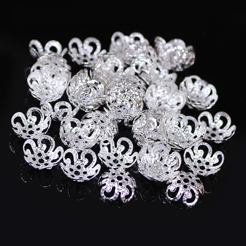 New Hollow Flower Metal Filigree Loose Spacer Bead Caps Silver Gold Accessories components supplies For DIY Jewelry Making