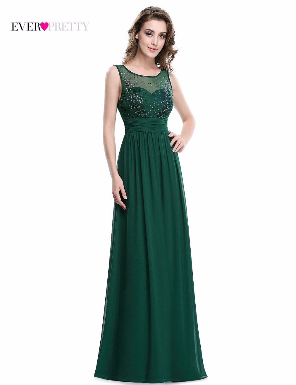 Elegant Long   Evening     Dress   Ever pretty EP08784 2017 Real Picture Green Chiffon A-Line Sleeveless Beadings   Evening   Party Gowns