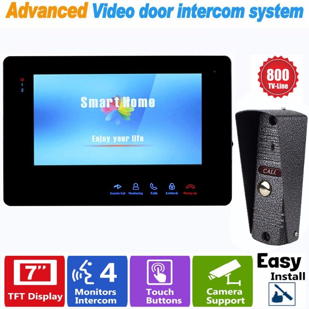 7 TFT Door Monitor Video Intercom Home Door Phone Recorder System with 800 TVL IR Camera Support Security CCTV Camera F1392A