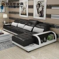 Ура Барселона черный и большой белой строчкой l образный современный дизайн секционный из мягкой коровьей кожи диван, набор мебели для гост