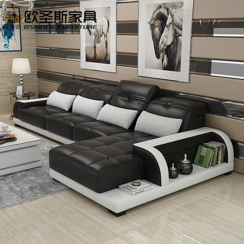 Cheers Barcelona Black And Big White Stitching L Shaped Modern Design Sectional Soft Cow Leather Sofa