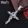 Vintage punk cross pendant Beier 925 silver sterling  trendy black coating man pendant necklace  fashion Jewelry A0465
