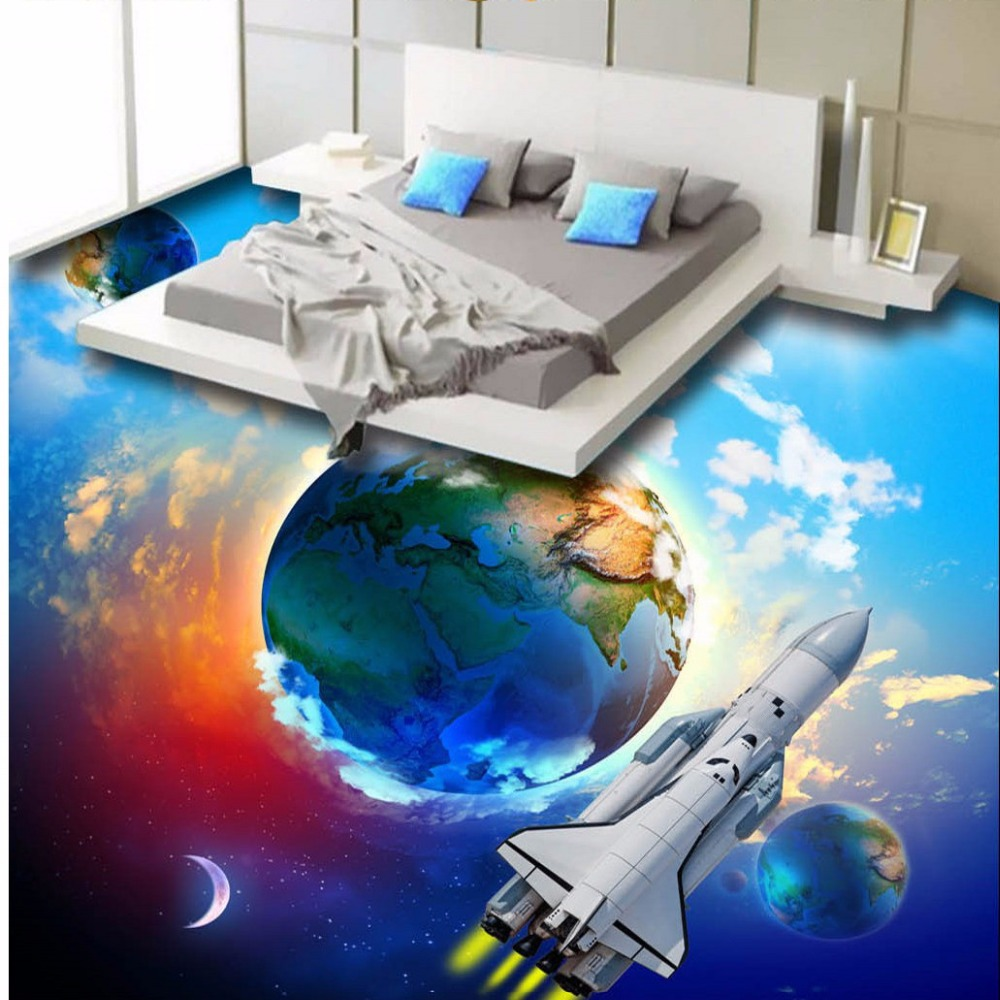ФОТО Free Shipping earth space skyline 3D floor painting outdoor commercial street 3D stereo modern fashion floor painting