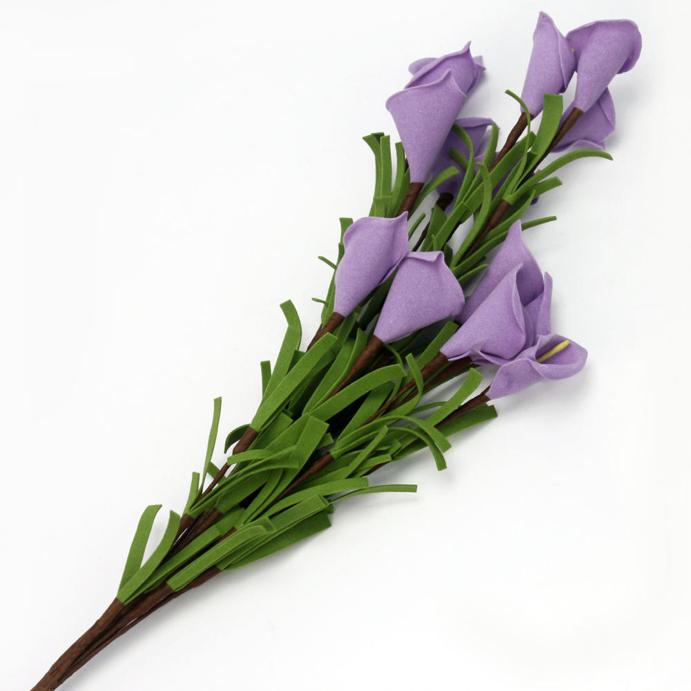 1 bouquet artificial 14 head purple calla lily flowers simulation