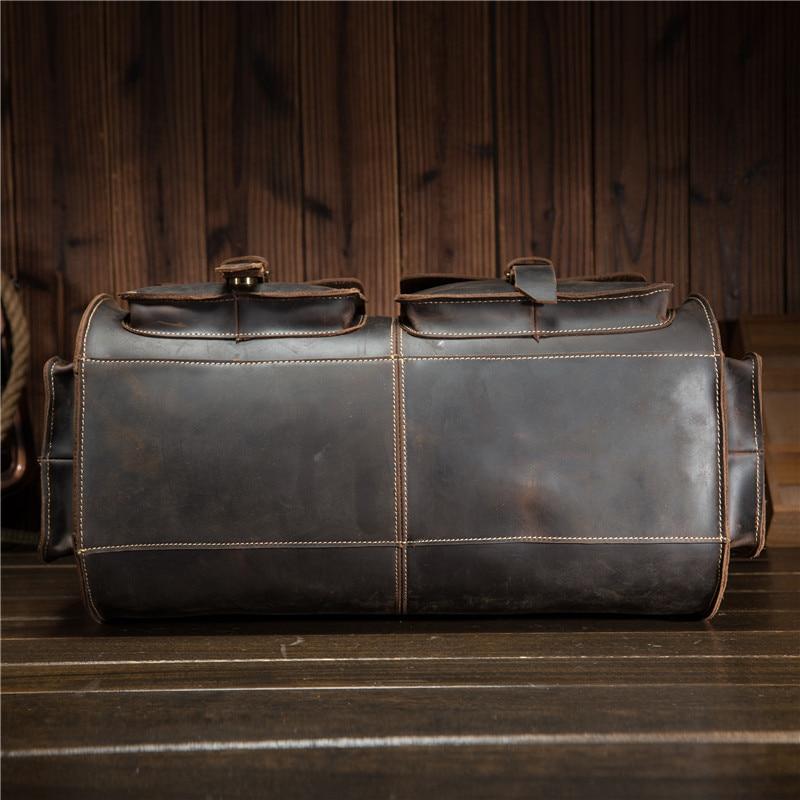 Mäns Retro Äkta Läderhud Crazy Horse Big Travel Duffel Crossbody - Väskor för bagage och resor - Foto 4
