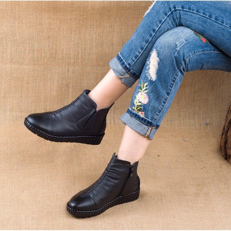 Terciopelo Tinto dark A Gran Mano Rushiman Mujeres Algodón Las 41 Zapatos Negro Coser Nacional Yardas De vino Cuero 35 Hecho Brown Viento Negro Botas gqww05Rn