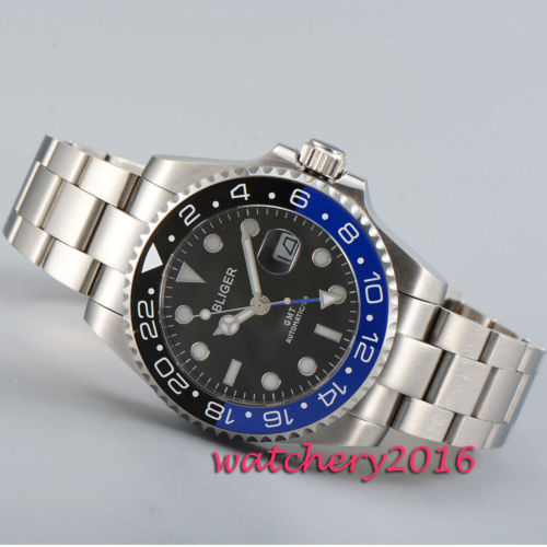 Full Stainless steel 43mm Bliger black dial Black & blue ceramic bezel sapphire glass GMT automatic movement Men's watch relojes full stainless steel men s sprot watch black and white face vx42 movement