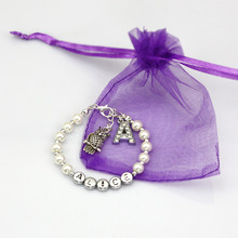 Girls Ladies Any Name Birthday Charm Personalised Bracelets Gift With Purple Bag