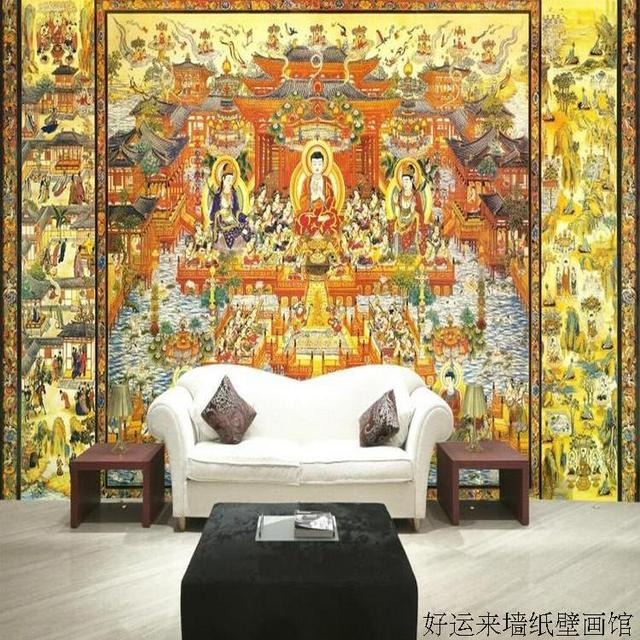 Custom 3d Mural Wallpaper Buddhist Temple Culture Buddha