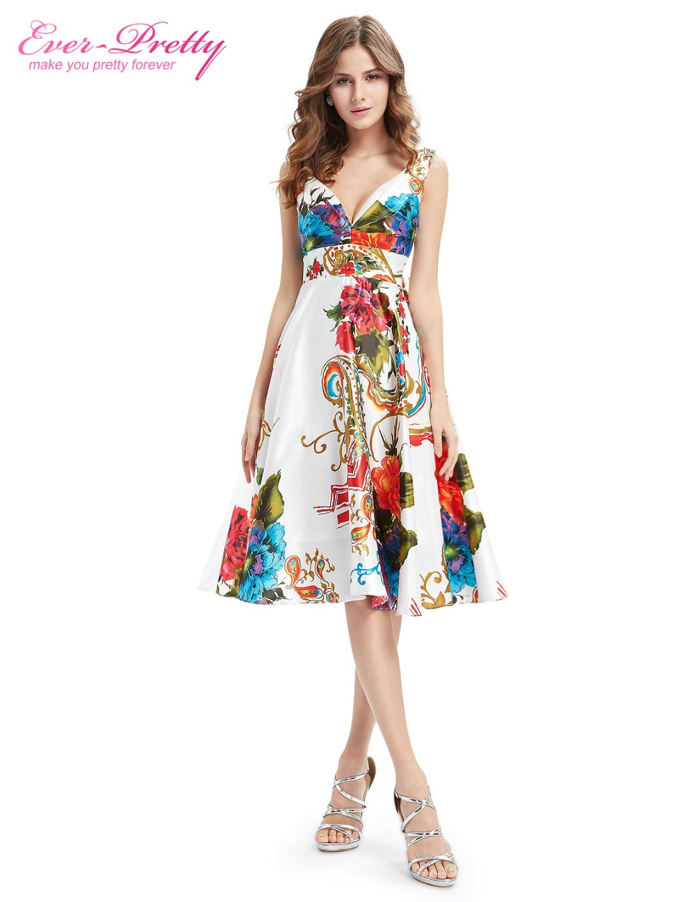 Cocktail     Dresses   Empire Line Floral Print Satin Party   Dress   2018 Ever-Pretty EP03381 Double V-neck Hot Selling Summer Style