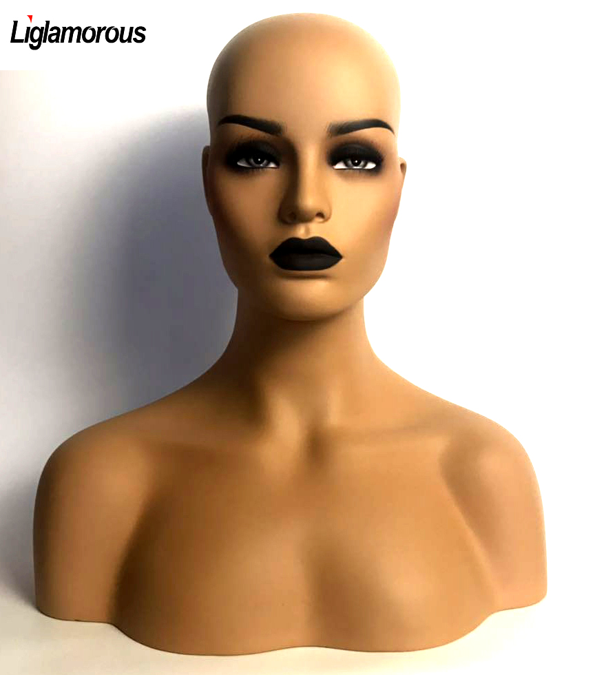 New 1PC Female Realistic Mannequin Head Fiberglass Jewelry And Hat Display Glasses Mold Stand Torson Wig