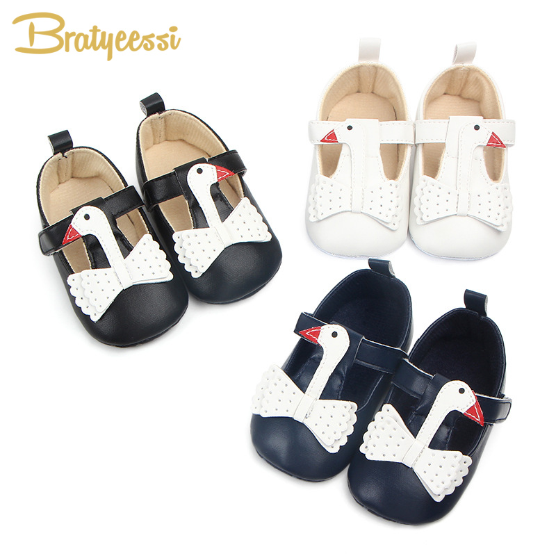 Princess Baby Girl Shoes Swan Anti Slip Shallow Baby Shoes For Girls First Walkers PU Leather Baby Moccasins Soft Toddler Shoes