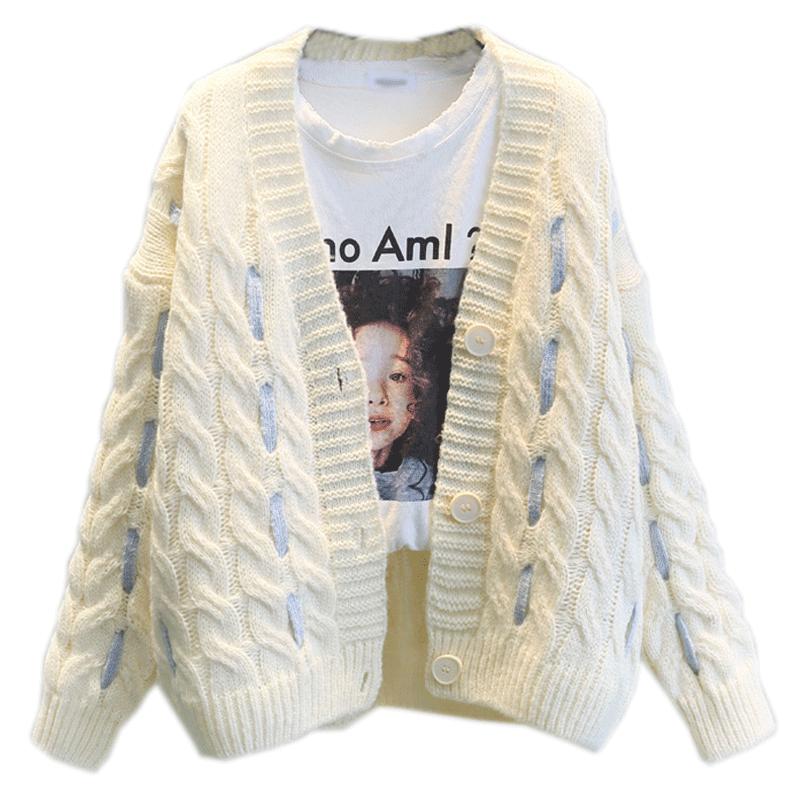 2018 осень зима новый корейский Свободный кашемировый толстый теплый вязаный свитер с длинными рукавами кардиган свитер куртка LJ0942