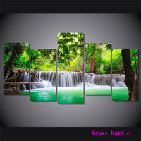 Green Tropical Waterfall Canvas Painting Living Room Home Decor Modern Mural Art Oil Painting