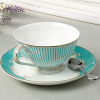 On Sale Fashion Classic British Simple style Bone china Gilded fringes Coffee cup and saucer with spoon Tea Cups Gift Set