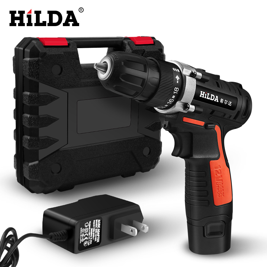 HILDA Electric Drill Cordless drill screwdriver Lithium Battery  Furadeira Cordless Screwdriver Power Tools with Plastic caseHILDA Electric Drill Cordless drill screwdriver Lithium Battery  Furadeira Cordless Screwdriver Power Tools with Plastic case
