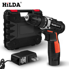 HILDA Electric screwdriver Lithium Battery Electric Drill Furadeira Cordless Screwdriver Power Tools with Plastic case hilda 16 8v electric screwdriver lithium battery 2 electric drill furadeira cordless screwdriver power tools with drill bit case