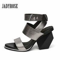 Jady Rose Summer Gladiator Sandals 9CM Strange High Heels Women Pumps Genuine Leather Gladiator Sandals Female