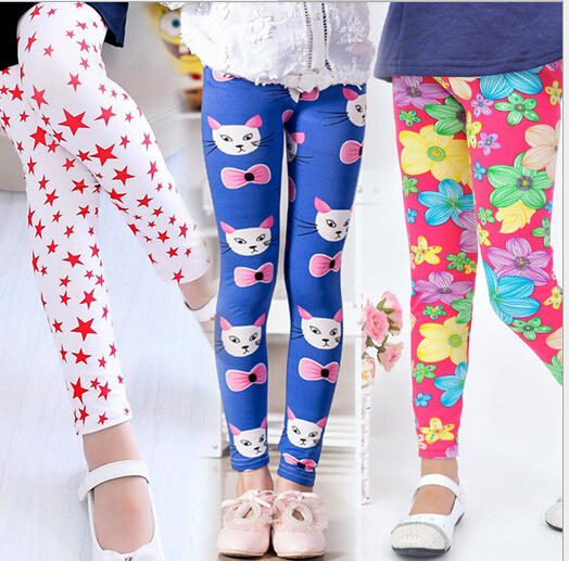 3pcs Printing Flower Children   Pants   For Autumn Summer Kids Clothes Skinny Girls Leggings   Pants     Capri