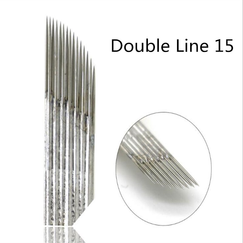 Double Row 15 Pins Needles Blade For Permanent Eeybrow Tattoo Needle Tips Manual Beauty Makeup Microblading Blades Fog EyebrowDouble Row 15 Pins Needles Blade For Permanent Eeybrow Tattoo Needle Tips Manual Beauty Makeup Microblading Blades Fog Eyebrow