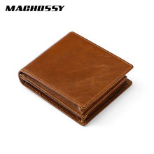 Vintage Oil Wax Handmade Real Skin Men Wallets Multi-Functional Cowhide Coin Purse Genuine Leather Card Holders Wallet For Man