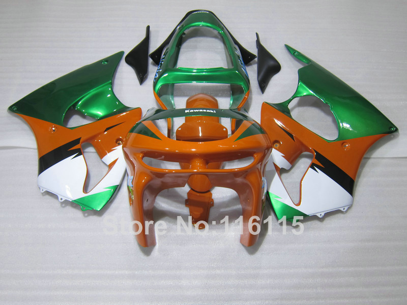 Motorcycle parts for Kawasaki ZX6R 1998 1999 green orange white Ninja 636 ZX 6R 98 99 plastic fairings set PP9