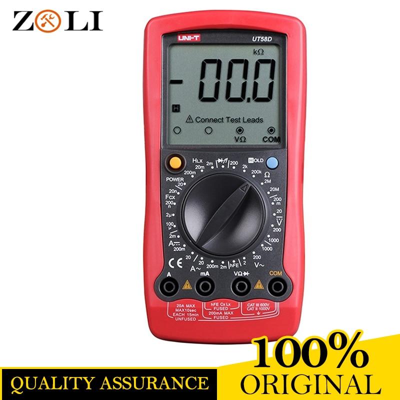 UNI-T UT58D 1999 Counts LCD Large Screen Digital Multimeter UT58D AC/DC Voltage Current,Resistance,Capacitance,Inductance Tester uni t ut603 2 7 lcd digital inductance capacitance tester red grey 1 x 9v