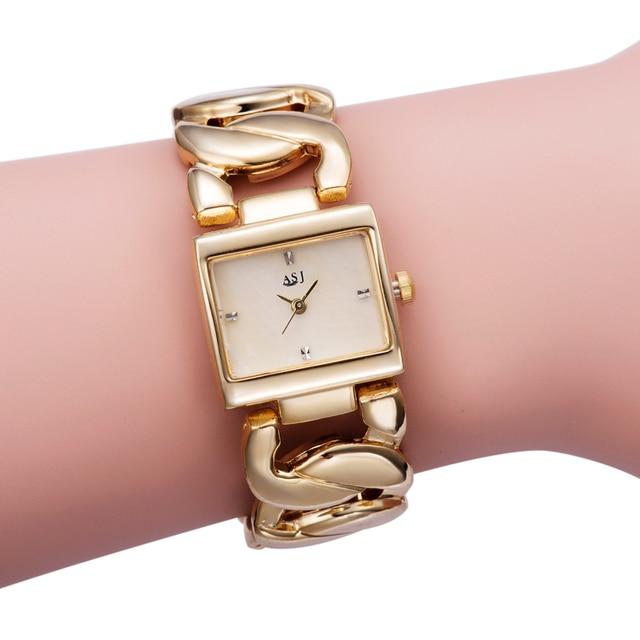 New Women's Fashion Luxury Bracelet Watch Quartz Golden Clock Rectangle Case Cry