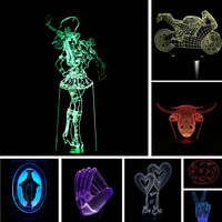 Wholesale Free Shipping 3D USB LED Lamp Motorcycle Skull Bounty Hunters Victory Romantic LOVE Animal Cow