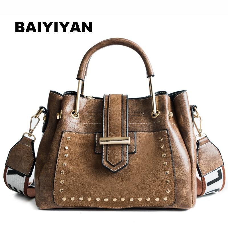 New Women Vintage Tote Bag High Quality Brand PU Leather Handbag Retro Rivet Larger Messenger Bag Ladies Shoulder Bag