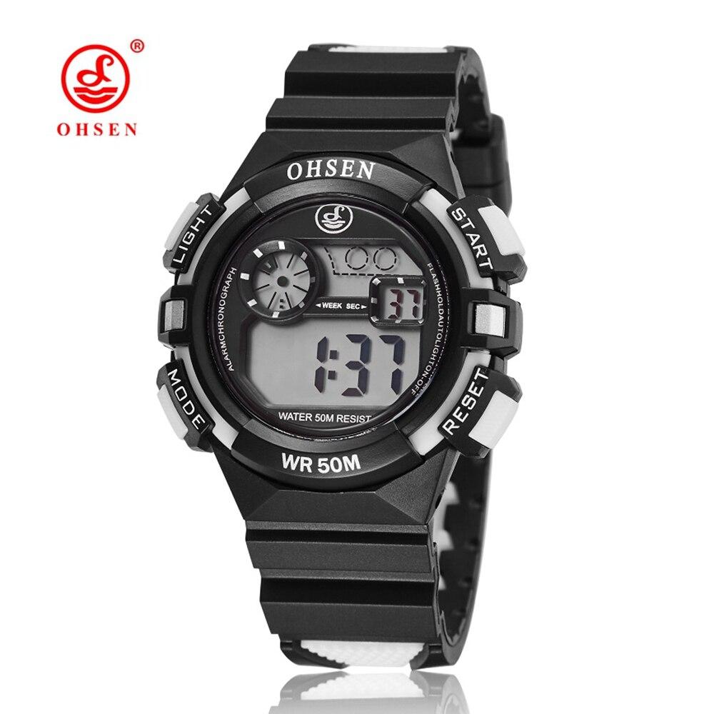Montre Enfant OHSEN Digital Watch LCD Kids Boys Rubber Band Sports Watch 50M Waterproof Alarm Date Fashion Children Wristwatches цена 2017