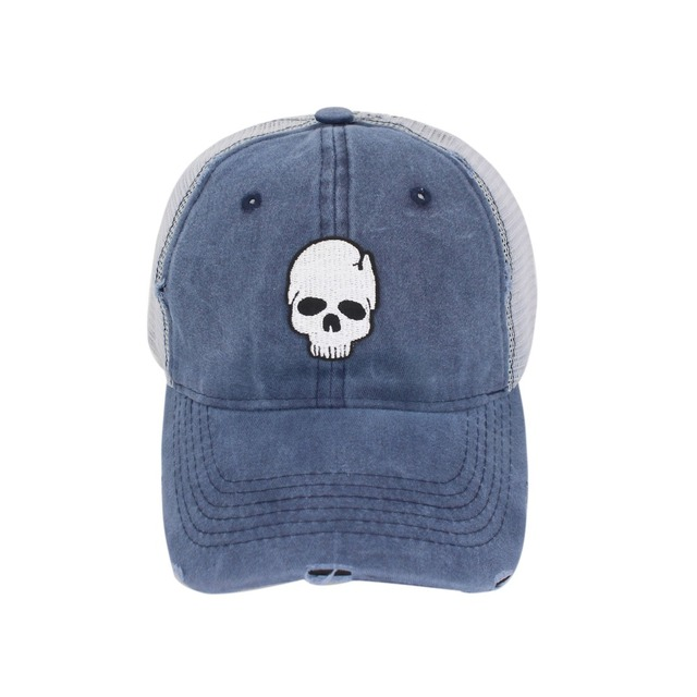 RETRO SKULL EMBROIDERY BASEBALL CAPS (3 VARIAN)