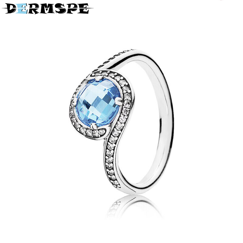 Rings Genteel Dermspe 925 Sterling Silver Ring With Sky Blue Crystal And Clear Cubic Zirconia Fit Diy Original Gift Merry Christmas Jewelry