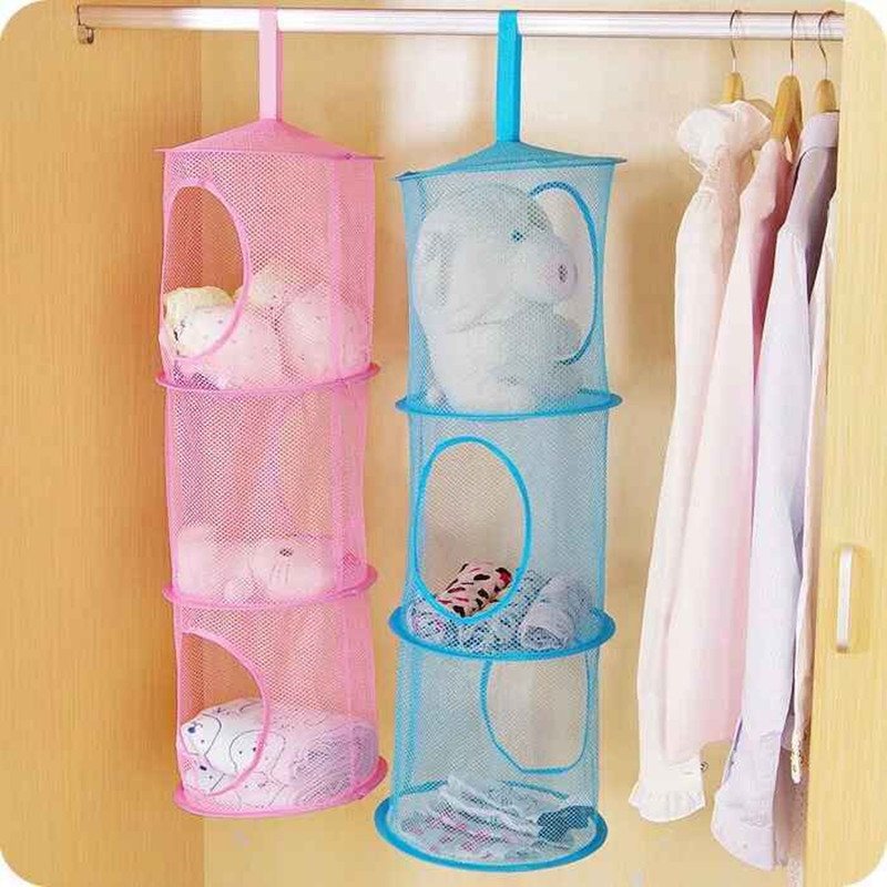 3 Shelf Hanging Storage Net Organizer Bag Bedroom Door Wall Closet
