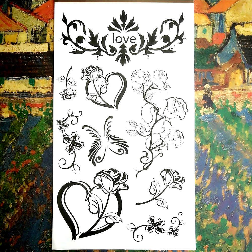 Nu-TATY черная Цветочная детская Временная художественная вспышка тату-наклейка 10*17 см водостойкая хна тату автомобильный Стайлинг тату на стену