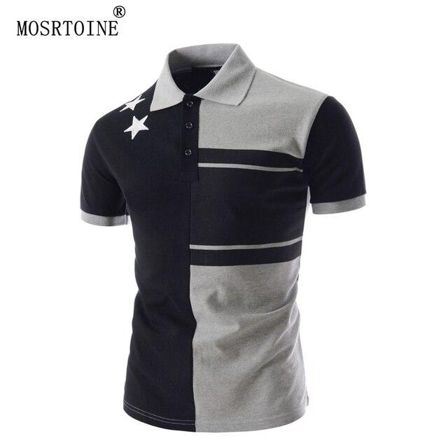 Mosrtoine hombre remata camisetas polos 2017 estrellas de color de contraste de la ropa de verano estampado geométrico tallas xxl con botones de moda polo