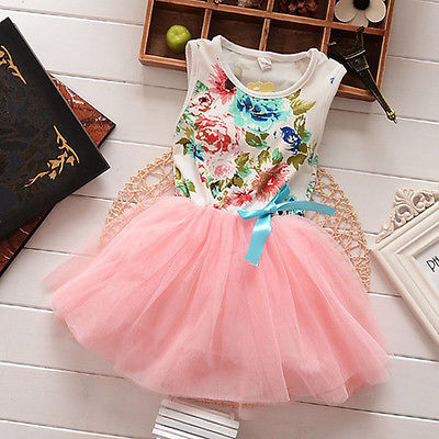 New Arriving Dress Girls Children Baby Kids Dress Ball Gown Party Bow Cute Summer Floral Tops Fancy Tutu Girl Dress Tulle 1-5Y ems dhl free 2017 new lace tulle baby girls kids sleeveless party dress holiday children summer style baby dress valentine
