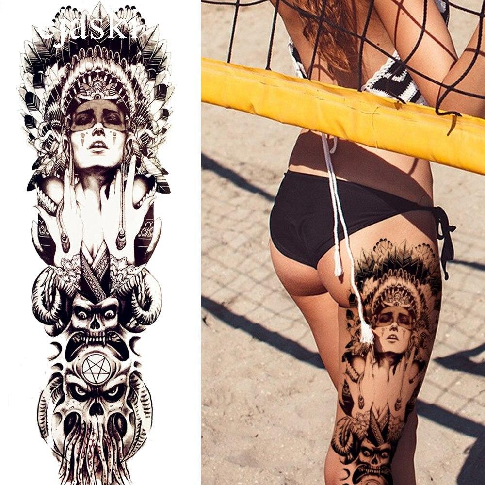 Black Indian Warrior Temporary Tattoo Men Full Legs Tattoo Stickers Women Large Body Arm Art Drawing Fake Tatoos Self Adhesive