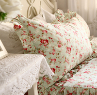 Pastoral floral flower flouncing french chic lace ruffles decorative pillowcases pillow sham british american classic style
