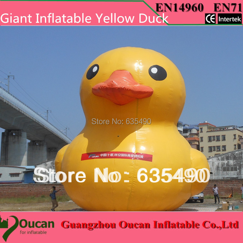 4m height PVC inflatable yellow duck for advertising, giant inflatable promotional yellow duck on hot sale