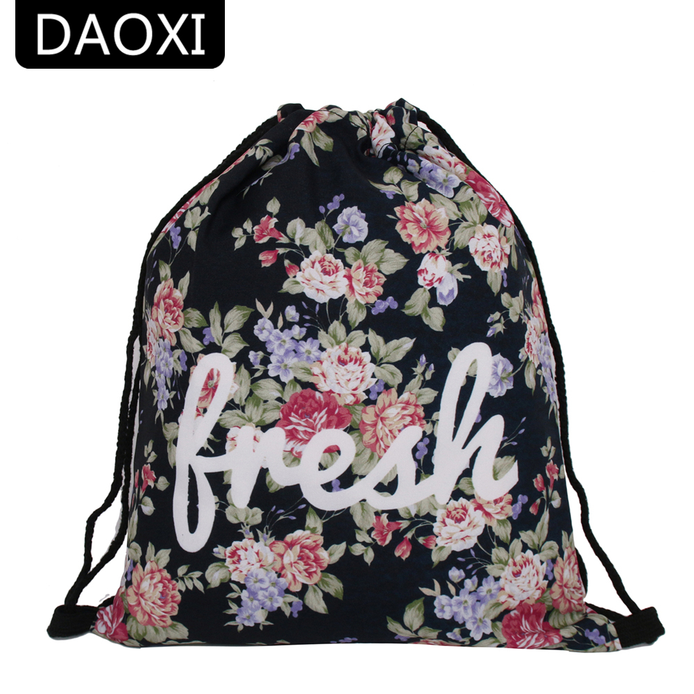 DAOXI Women Drawstring Bags 3D Printing Flowers with Letter Fashion Backpacks YY10159 drawstring bags