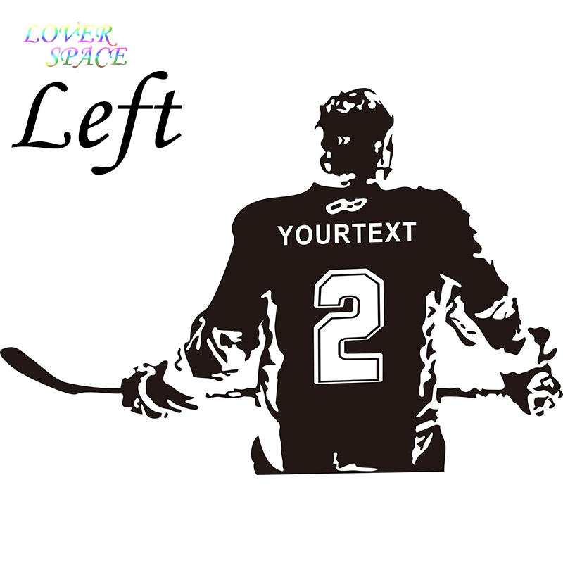 Hockey Wall Decal Large Decal Custom Name Decal Boys: LOVE SPACE Hockey Player Wall Art Decal Sticker Choose
