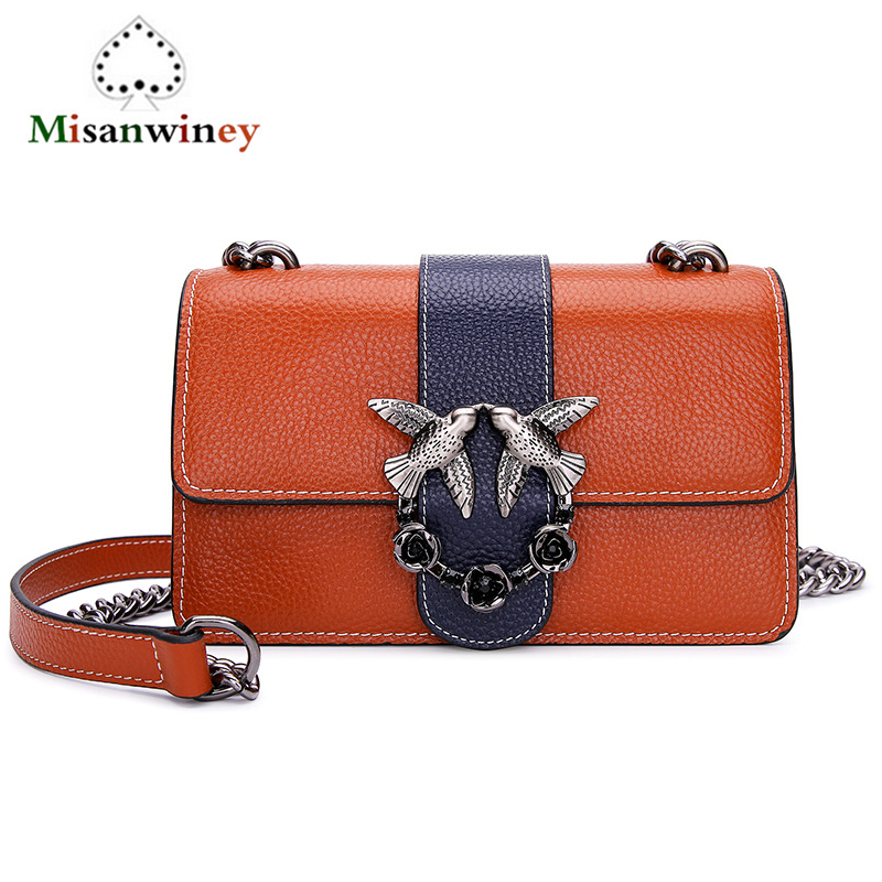 Newest 2018 Luxury Cow Leather Handbags Women Vintage Chain Flap Bags Bird Logo Designer Real Genuine Leather Shoulder Bags Sac new 2018 luxury cow split leather handbags women vintage chain bucket bags metal ring designer genuine leather shoulder bags