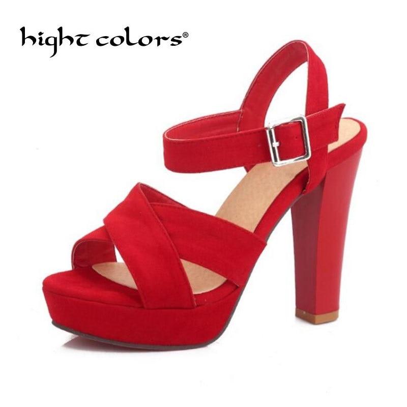 Big Size 43 Summer Red Platform Women High Heels Sandals Open Toe Fashion Ankle Strap Buckle Women Sandals Wedding Party Shoes цена