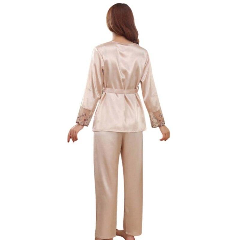 b61c0c595a Autumn Winter Pajamas for Women Purple Gold Pink Silk Pajama Set Sexy  Lingerie Sleepwear Christmas Clothes Pyjamas Women-in Pajama Sets from  Underwear ...